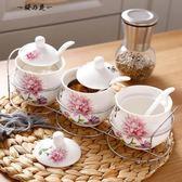 冠宇陶瓷調味罐廚房用品家用調料盒套裝組合裝調料瓶三件套油鹽罐【櫻花本鋪】