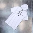 連帽短袖t恤男女潮夏季寬鬆港風衣服潮牌帶帽子衛衣潮流半袖 快速出貨