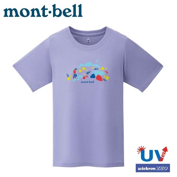 【Mont-Bell 日本 女 WIC.T COLORFUL TRAIL 短袖排汗T恤《薰藍》】1114537/圓領衫/運動上衣