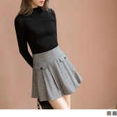 《CA1500-》毛料簡約細條紋打褶短版褲裙 OB嚴選