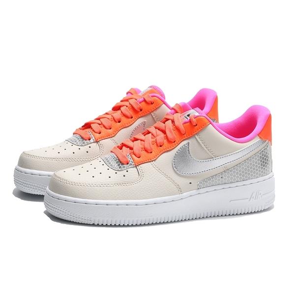 NIKE 休閒鞋 AIR FORCE 1 07 SE 米銀 橘粉 皮革 反光 女 (布魯克林) CT1992-101