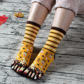 聖誕襪五指襪純棉襪卡通拇指襪 可愛春夏季中筒五指襪女款 聖誕麋鹿