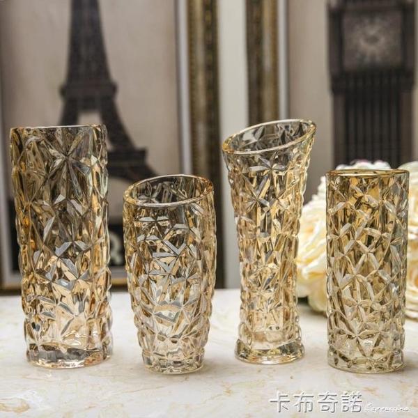 新古典歐式金色水晶玻璃花瓶 創意玻璃花器插花奢華客廳擺件裝飾 聖誕節鉅惠