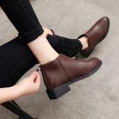 秋冬平底英倫風短靴女新款粗跟切爾西靴女馬丁靴尖頭單靴子女 雲雨尚品