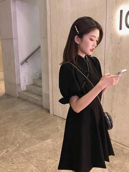 旗袍洋裝洋裝M-4XL小個子赫本風小黑裙新款夏少中式旗袍改良版裙子黑色連身裙4F039-A 胖丫
