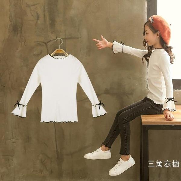 女童白色打底衫2020新品兒童長袖體恤T恤中大童韓版秋衣上衣