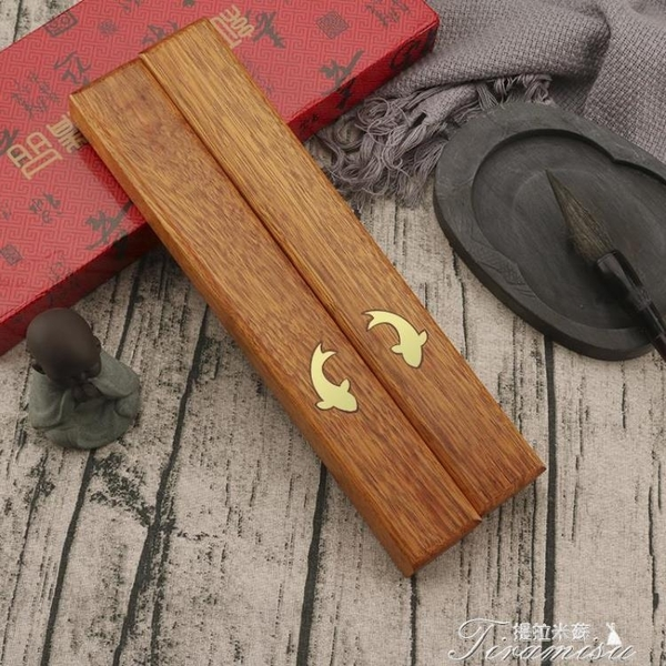 鎮尺-紅木鎮尺鎮紙高檔創意雕刻文房四寶書法用品送人長輩文人禮品 提拉米蘇