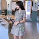 VK精品服飾 韓系名媛氣質格紋復古西裝領...