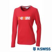 K-SWISS Long Sleeve T-Shirts印花長袖T恤-女-紅