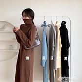 毛衣洋裝 針織連身裙女裝秋季冬新款長款高領毛衣打底裙黑色內搭長裙子 新品