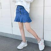 現貨 女童半身裙2019春裝新款童裝荷葉邊韓版牛仔短裙洋氣中大童裙子潮 女童短裙 3歲-14歲