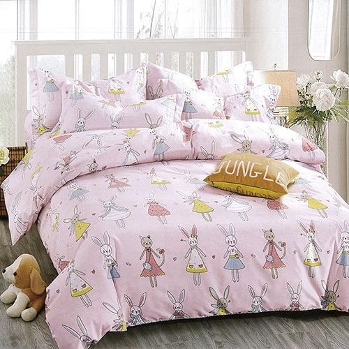 【南紡購物中心】柔絲絨加大四件式印花兩用被床包組- 繽紛