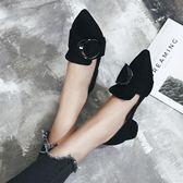 韓版C字扣粗跟鞋子 低跟尖頭職業工作鞋【多多鞋包店】z6393