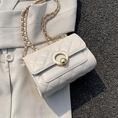 夏天洋氣小包包女包2021新款潮時尚鏈條菱格包百搭單肩斜背小方包 夏日新品85折