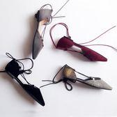 春夏季新款女鞋秋鞋交叉綁帶平底鞋繫帶尖頭40大碼41單鞋43潮    韓小姐
