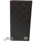 【GUCCI 古馳】473920 經典Signature系列GG壓紋銀色金屬LOGO牛皮折疊長夾(咖啡)