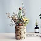 森系干花束花籃套裝自然真花滿天星桌面家居裝飾插花擺件 露露日記