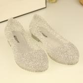 果凍鞋 夏季女涼鞋水晶塑料涼鞋鏤空平底護士果凍鞋單雨鞋鳥巢沙灘洞洞鞋