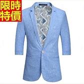 西裝外套-韓版修身七分袖薄款時尚亞麻外套3色68q11【巴黎精品】