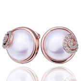 耳環 純銀鍍18K金 珍珠-鑲鑽優雅生日情人節禮物女飾品73cg248【時尚巴黎】