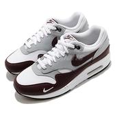 Nike 休閒鞋 Air Max 1 PRM 白 咖啡 灰 男鞋 高級皮革鞋面 復古慢跑鞋 運動鞋 【ACS】 DB5074-101