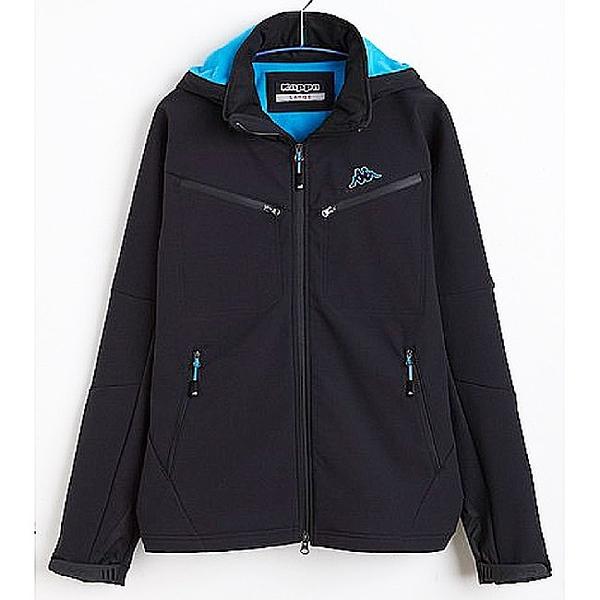 KAPPA義大利時尚中性SOFTSHELL高透濕慢跑風衣外套 黑 珊瑚藍