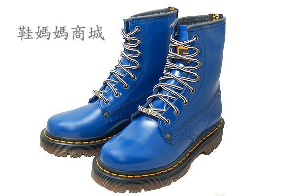 【鞋媽媽】[男女]全新AE馬丁鞋*8孔中筒靴*藍色*防滑防潑水*ae206