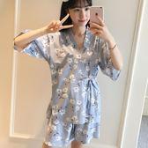 睡衣 夏季純棉短袖套裝日式和服碎花甜美中學生韓版薄款家居服
