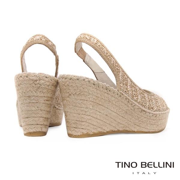 Tino Bellini 西班牙進口棉麻編織藝術魚口楔型涼鞋 _ 淺杏 A83017 歐洲進口款