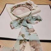 新款韓國系帶蝴蝶結發箍人造珍珠雪紡飄帶頭箍布藝發飾品發卡發帶   初見居家