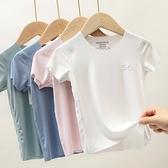 男孩短袖t恤女童上衣2021新款潮夏季兒童寶寶大童嬰兒薄款打底衫 幸福第一站