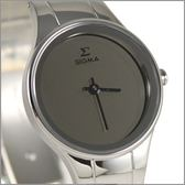 【萬年鐘錶】日系SIGMA 灰經典女腕錶 1123L-S