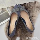 高跟鞋小跟單鞋女2019新款3CM尖頭細跟蝴蝶結藍色低跟伴娘鞋仙女 愛麗絲精品