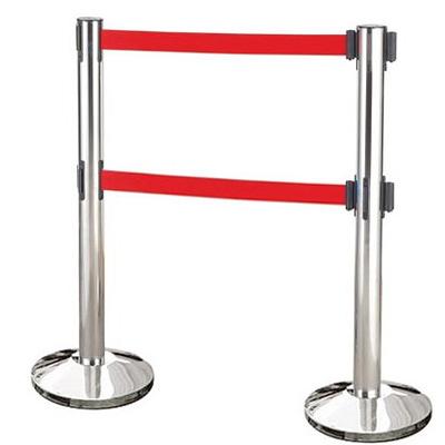 【量販2入】雙帶不銹鋼伸縮欄柱(錐盤)/E85A-2R 開店/欄柱/紅龍柱/排隊/動線規劃