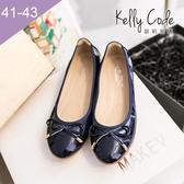 大尺碼女鞋-凱莉密碼-秋冬新色漆皮簡約蝴蝶結蛋捲平底鞋娃娃鞋1cm(41-43)【GL728-1】寶藍