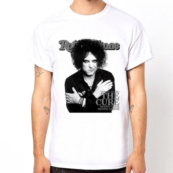 The Cure-Robert Smith短袖T恤-白色 人物相片潮流搖滾樂團吉他