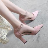 春季女鞋2018新款韓版高跟鞋粗跟一字扣帶中跟尖頭淺口單鞋女 LR187【歐爸生活館】