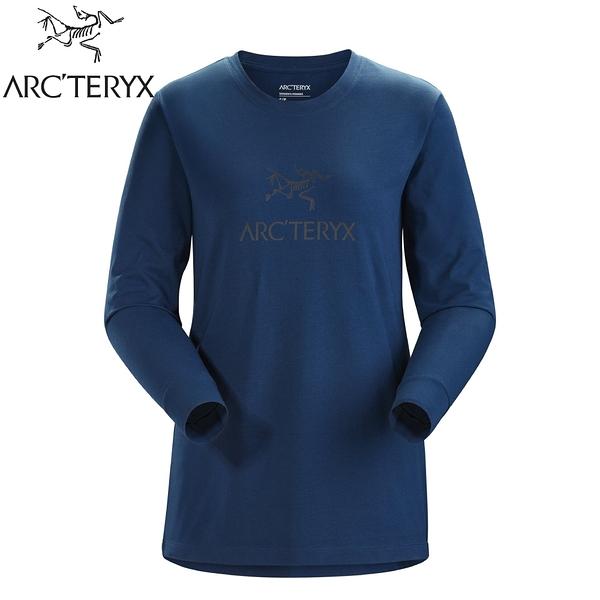 【ARC'TERYX 始祖鳥 女 LOGO 長袖T恤《宇宙藍》】27918/長袖上衣/透氣長袖/內層上衣