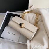 小方包 復古小包包2020新款潮時尚女包百搭錬條側背法棍腋下包手拎小方包 愛麗絲