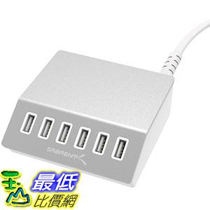 [美國直購] Sabrent AX-FLCH Premium 60 Watt (12 Amp) 6-Port Aluminum Family-Sized Desktop USB Rapid Charger 集線器