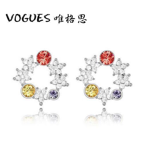 星辰彩色水鑽耳環(3色)  情人節禮物【Vogues唯格思】B025