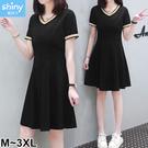 【V3112】shiny藍格子-夏日風情.條紋配色V領短袖連身裙