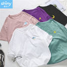 【V2948】shiny藍格子-俏皮可愛.刺繡天氣圓領寬鬆短袖上衣
