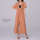 現貨◆PUFII-連身褲 自訂款V領連身長寬褲(附綁帶)- 0604 夏【CP18676】