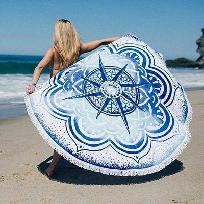 防曬披肩-流蘇百搭唯美潮流多用途戶外沙灘巾73mu29【時尚巴黎】