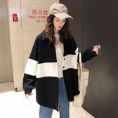 針織外套 韓版中長款復古港風條紋BF風寬松針織開衫上衣外套女「爆米花」