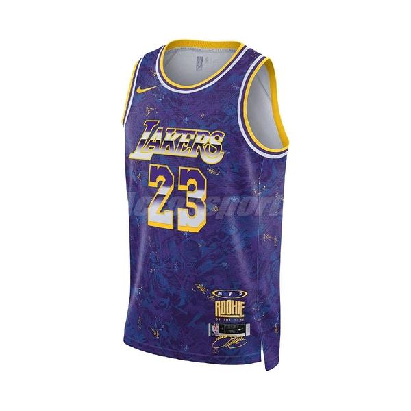 Nike 球衣 LeBron James Series NBA 紫 黃 男款 無袖 勒布朗 運動休閒【ACS】 DA6951-504