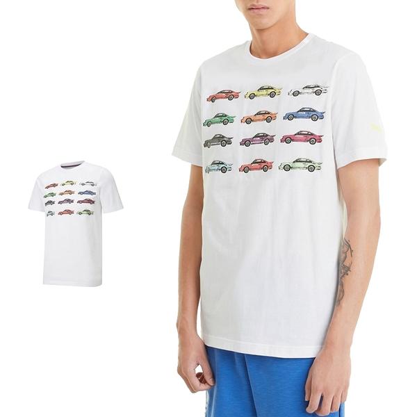 Puma Porsche 男 白 短袖 上衣 聯名款 棉T 短T 運動 休閒 F1賽車 圓領上衣 59972108