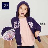 Gap女童 Logo長袖拉鏈連帽休閒外套 334767-藍紫色