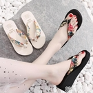夾腳拖鞋 厚底人字拖女夏波西米亞夏季時尚厚底坡跟涼拖鞋沙灘鞋防滑潮 韓菲兒